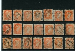 21 x 3 cent Small Queens, Various cancels, corks, flags, orbsetc used lot CAnada