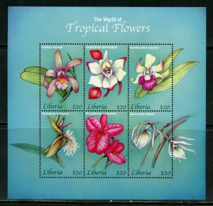 LIBERIA TROPICAL FLOWERS OF THE WORLD SHEET MINT NH