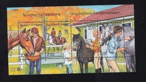 Finland   #826  MNH  1990  sheet   horse care