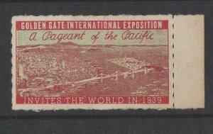 USA - 1939 Golden Gate International Expo Invites the World version 1 MH OG