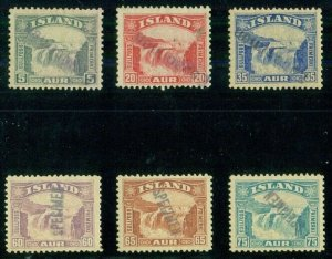ICELAND #170-5S (194-9S) Complete Waterfall set with SPECIMEN OVPT, og, NH, VF,