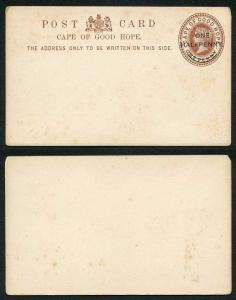Cape Of Good Hope QV 1d Brown Postcard with one Halfpenny O/P Mint