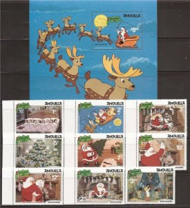 Anguilla - 1981 Disney Night Before Christmas - 9 Stamp Set + Souvenir Sheet