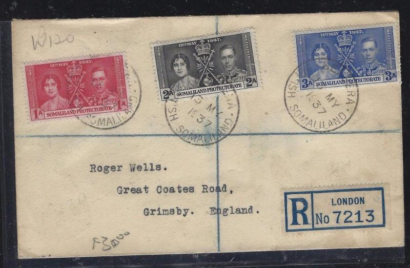 SOMALILAND COVER (PP0312B)   KGVI  CORONATION SET REG  LONDON LABEL TO ENGLAND