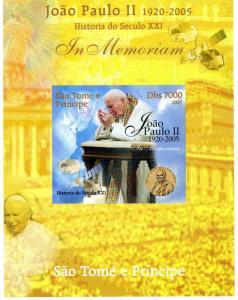 SAO TOME & PRINCIPE 2005 SPACE Pope John Paul II DeLuxe s/s Mint (NH) #9
