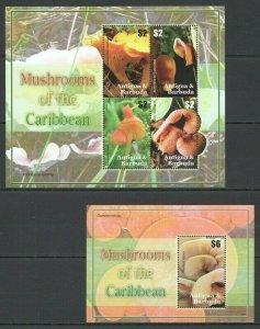 KS ANTIGUA & BARBUDA FLORA NATURE MUSHROOMS OF THE CARIBBEAN 1KB+1BL MNH
