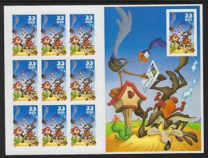 Catalog # 3391 Sheet of 10 Stamps Roadrunner & Wile E Coyote Looney Tunes