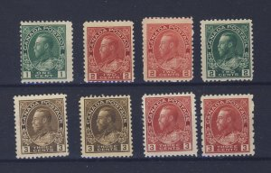 8x Canada Admiral Stamps #104-106-106b-107a-108-108b-109-184 Guide Value= $195.