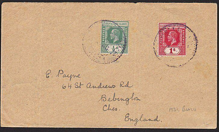 GILBERT & ELLICE 1931 cover to UK via Fiji - BERU undated pmk..............68823
