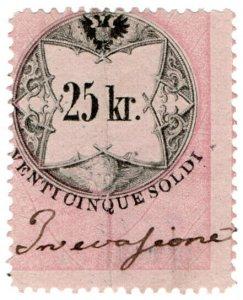 (I.B) Austria/Hungary Revenue : Stempelmarke 25kr (Lombardy-Venetia)