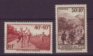 J19424 Jlstamps 1937 france hv,s of set mnh #b61-2 sports