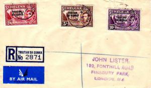 Tristan Da Cunha St. Helena 2/6, 5/-, and 10/- KGVI Badge of the Colony Overp...