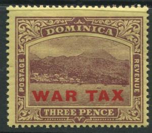 Dominica -Scott MR4 - War Tax Overprint Issue -1918 - MH - Single 3p  Stamp