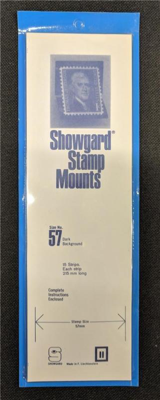 Stamp Mounts Supplies Showgard #57 New 15 strips 57mm by 215mm Black background