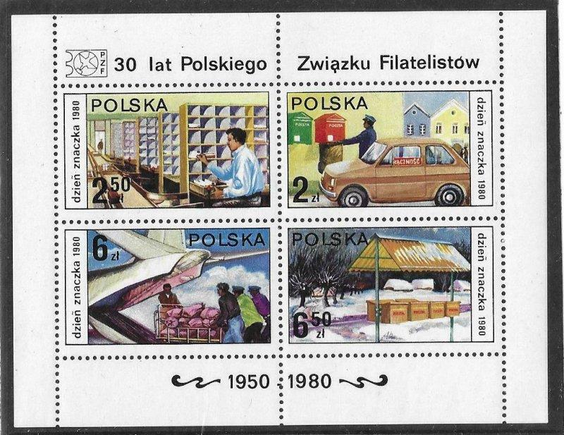 1980   POLAND  -  SG.  MS 2709  -  STAMP DAY    -  MNH
