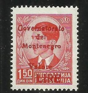MONTENEGRO 1942 GOVERNATORATO RED OVERPRINTED SOPRASTAMPA ROSSA LIRE 1,50 D M...
