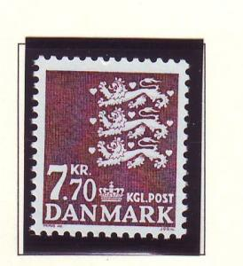 Denmark  Scott 809 1989 8.0 kr brown State Seal stamp mint NH