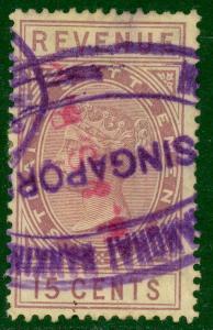 STRAITS SETTLEMENTS 1882 15c Purple QV Revenue Bft 21 VFU H&S BANK Cxl