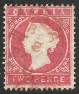 GAMBIA-1880-81 2d Rose Sg 13b GOOD USED V46448
