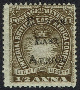 BRITISH EAST AFRICA 1895 OVERPRINTED LIGHT AND LIBERTY 1/2A
