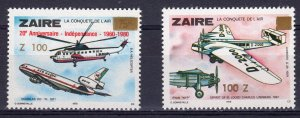 Zaire 1990 Helicopter-Aircrafts New Values ovpt.100Z (2) MNH Very Rare !!!!