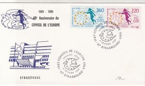 France 1989 40th Ann Council of Europe Slogan Cancels Stamps FDC Cover Ref 31641