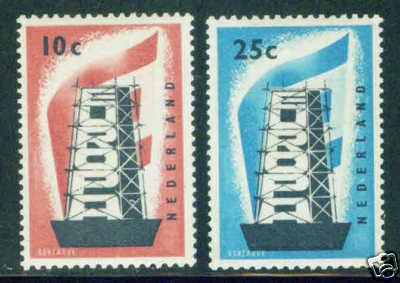 Netherlands Scott 368-9 MH* 1956 Europa set CV$72
