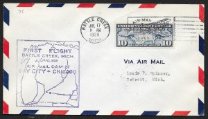 UNITED STATES #C7 on First Flight Cover 1928 Battle Creek to Detroit