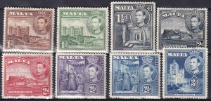 Malta #193, 193A, 194A, 195-196A, 197A  F-VF  Unused CV $12.65  (Z1657)