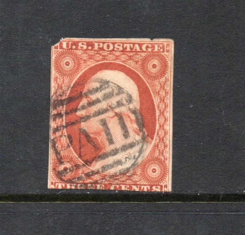 #10 - 3 cent stamp of 1851 - RARE FIRST PLATE #1 early - cv$210 -   14L1e