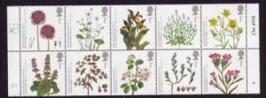Great Britain Sc 2669a 2009 Endangered Plants stamp block of 10 mint NH