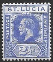 St Lucia 59 1907  2 1/2 d unused