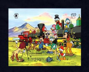 ANTIGUA - 1989 - DISNEY - TRAINS - MICKEY - DONALD - LOCOMOTIVE - MINT S/SHEET!
