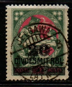 Latvia Sc 96 1921 20 r overprint on 50k Latgale Relief stamp used