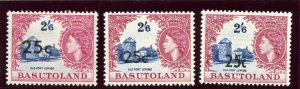Basutoland 1961 QEII 25c on 2s6d in the 3 types of surcharge MLH. SG 66, 66a 66b