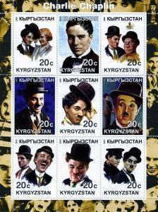 Kyrgyzstan 2001 CHARLIE CHAPLIN Sheet (9) Perforated Mint (NH)