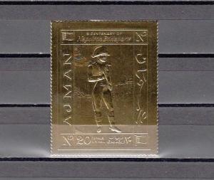 Ajman, Mi cat. 505 A. Napoleon Bonaparte, GOLD FOIL issue.
