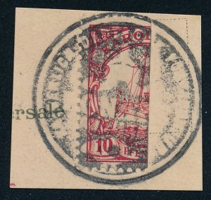Caroline Islands sc# 9a - Bisected 10 pf on Postcard Piece - Typhoon Provisional