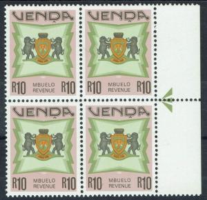 VENDA C1988 ARMS REVENUE R10 MNH ** BLOCK