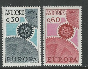 Andorra-French # 174-75  Europa 1967 (2) Mint NH