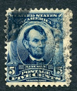 #304 – 1903 5c Lincoln, blue.  Used Avg.