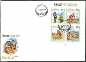 GUINEA BISSAU 2013 PREHISTORIC HUMANS  CAVEMEN   SHEET  FIRST DAY COVER
