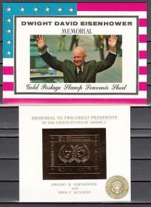 Manama, Mi cat. 252, BL54. Memorial Gold Foil s/sheet. Eisenhower & J. Kennedy.