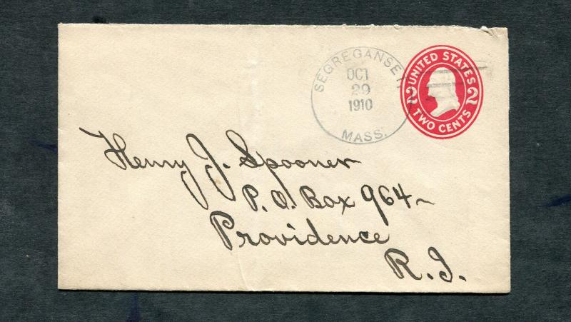 Postal History - Segreganset MA 1910 Black 4a-Bar Cancel Postal Stationery B0348