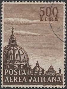 VATICAN CITY Italy 1953  Sc C22  Used VF 500L  Dome of St Peter's