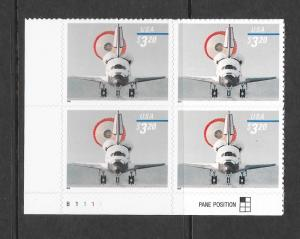 3261 MNH, $3.20, Space Shuttle Landing, B.L. Plate Block, Free Insured Shipping
