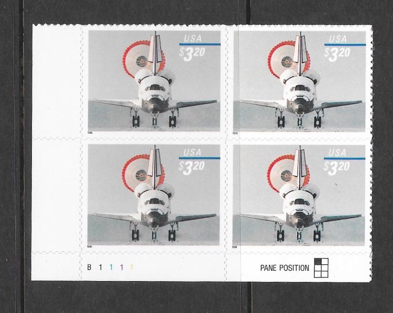 3261 MNH, $3.20, Space Shuttle Landing, B.L. Plate Block, Free Insured Shipping