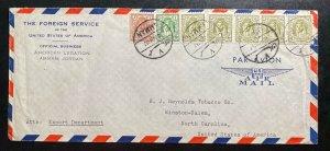 1952 Amman Jordania US Legation Airmail Cover to Reynold tobacco Winston NC USA