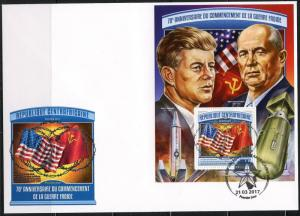 CENTRAL AFRICA 2017 70th ANNIVERSARY OF THE COLD WAR JFK  SOUVENIR SHEET FDC