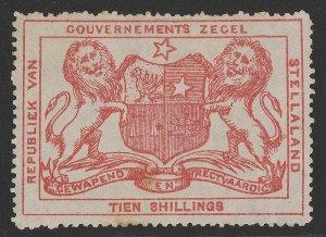 BECHUANALAND Stellaland 1886 Arms Revenue 10/- vermilion.